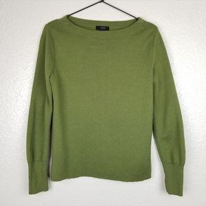 J.CREW Wool & Cotton Subtle Boatneck Sweater Green